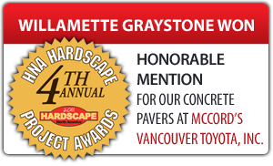 Willamette Graystone won honorable mention at 2012 hardscapes